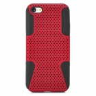 2-in-1 Protective Plastic + Silicone Back Case for Iphone 5C - Deep Red + Black