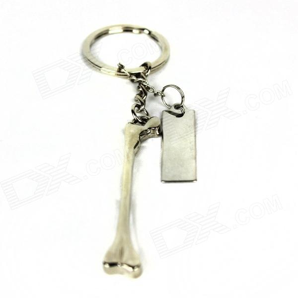 Zinc Alloy Dog Bone Keychain - Silver