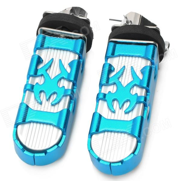 Universal Motorcycle Aluminum Alloy Rear Pedals - Blue + Silver (2 PCS)