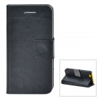 Protective PU Leather + PC Flip Open Case w/ Stand / Card Slots for Iphone 5C - Black