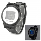 Men's Fashionable Blue LED Backlit Digital Wrist Watch - Black (1 x AG10)
