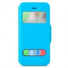 53002 Protective PU Leather + Plastic Case w/ Dual Window / Stand for Iphone 5C - Light Blue