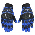 SCOYCO MX47 Motorcycle Super Fiber + Lycra + Neoprene Full-finger Gloves - Blue + Black (XL / Pair)