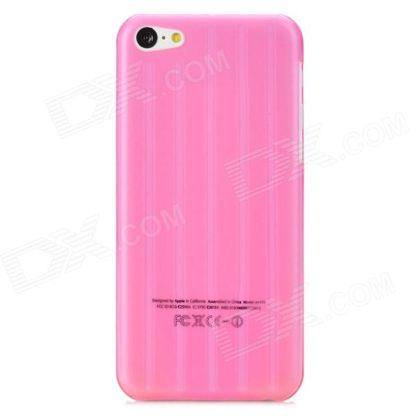 Stripe Pattern Protective Plastic Back Case for Iphone 5C - Deep Pink luck case 04 stylish protective silicone back case for iphone 5c deep pink