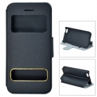 Protective Flip Open PU Leather + PC Flip Open Case w/ Dual Windows / Stand for Iphone 5C - Black