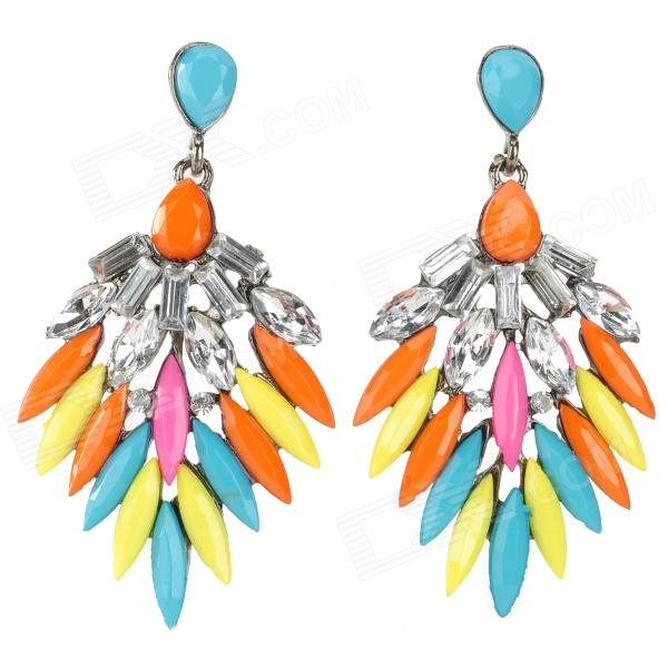 Luxurious Shiny Crystal Wing Style Pendant Earring - Multicolored (2 PCS) 9927 happy old couple resin garniture adornment multicolored 2 pcs