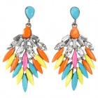 Luxurious Shiny Crystal Wing Style Pendant Earring - Multicolored (2 PCS)