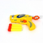 Manual Launch Outdoor Indoor Sponge Ball Gun Toy for Kids w/ 3-Sponge Cartridges - Yellow