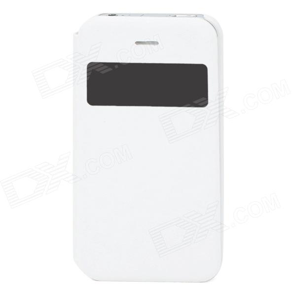 Protective PU Leather + PC Case w/ Display Window for Iphone 4 / 4S - White remax protective flip open pu leather case w visual window for iphone 4 4s white