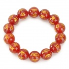 Om Mani Padme Hum Natural Agate Beads Bracelet - Wine Red