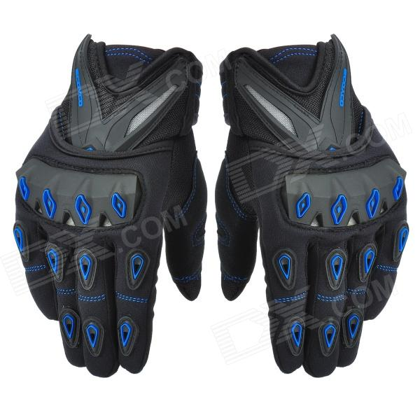 SCOYCO mc10 Racing Car Full-finger Gloves - Black + Blue (Size M)