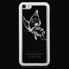Butterfly Pattern Protective Plastic Back Case w/ LED Flashlight for Iphone 5C - Black + Transparent