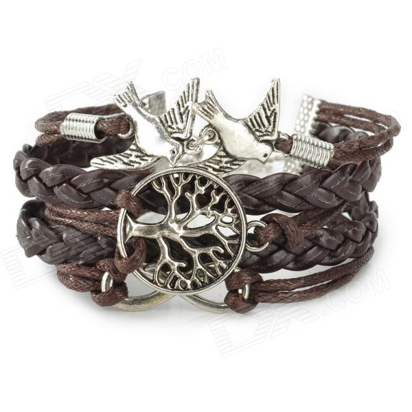 SGPZSL-1 Fashionable Tree of Life + Bird Adornment Bracelet - Coffee