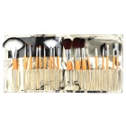 18-in-1 Professional Wool + Horse Hair Make-up Brushes w/ Beauty Pattern Bag - Orange + Silver