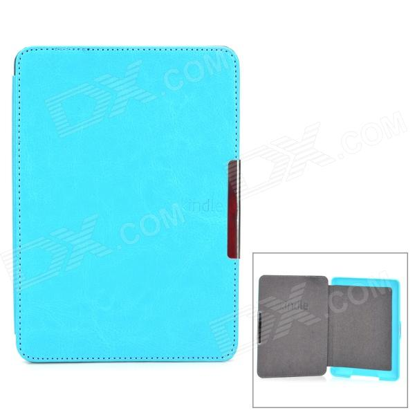 Protective PU Leather Case Cover w/ Auto Sleep for Amazon Kindle 5 - Light Blue walnew original case for amazon kindle voyage 2014 6 inch e book cover light high quality pu leather shell auto sleep wake