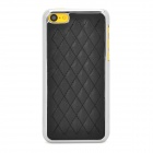 Checked Style Protective Plastic + PU Leather Back Case for Iphone 5C - Black + Silver