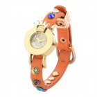 Crown Style Zinc Alloy Case Split Leather Band Quartz Analog Wrist Watch for Women - Orange + Golden