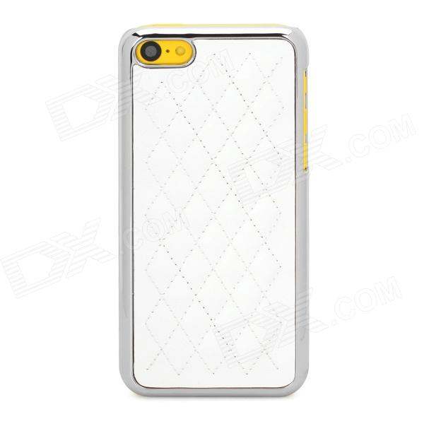 Checked Style Protective Plastic + PU Leather Back Case for Iphone 5C - White + Silver stylish protective pu leather case for iphone 5c white transparent black