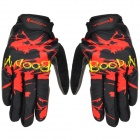 Boodun Cycling Suede + Lycra Full-finger Gloves - Red + Black (L / Pair)