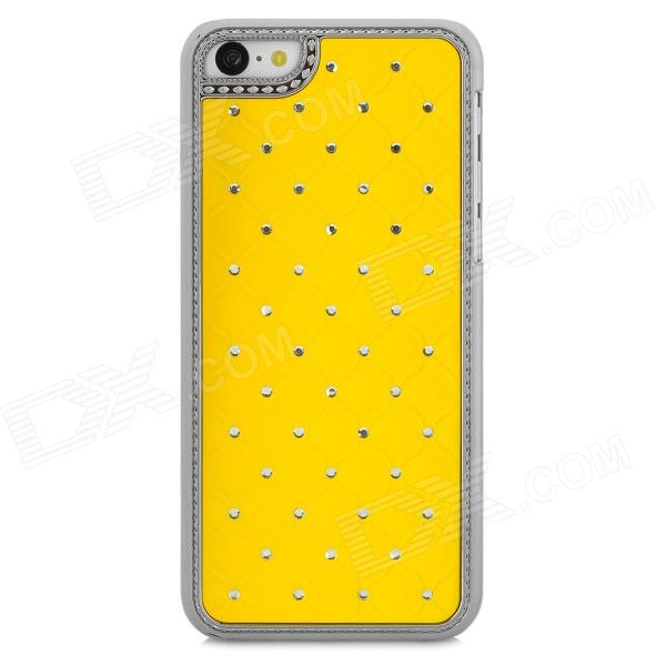 Stylish Inlaid Sparkling Crystal Protective Back Case for Iphone 5C - Yellow + Silver stylish protective silicone back case for iphone 5c grey