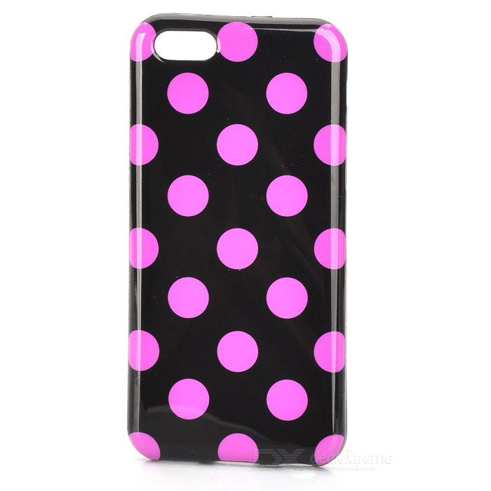 Stylish Polka Dot Pattern Protective TPU Back Case for Iphone 5C - Black + Purple Powder stylish protective tpu back case for ipod touch 5 purple
