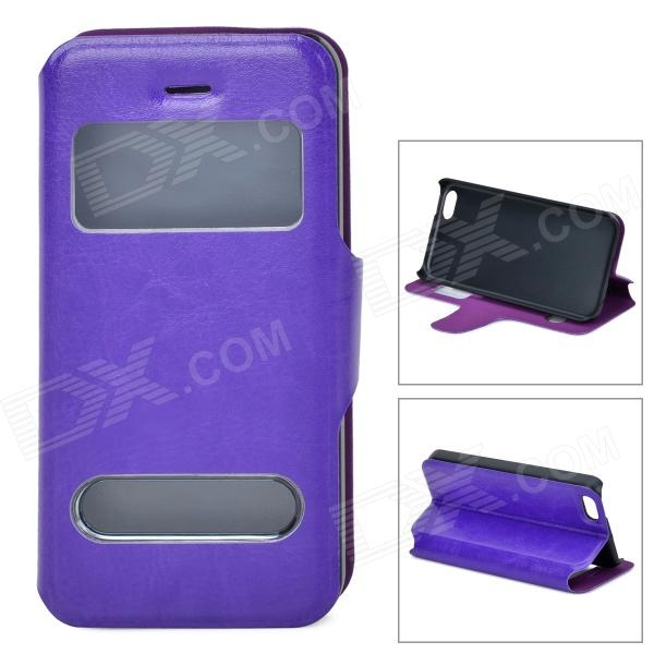 53010 Protective PU Leather + Plastic Case w/ Dual Windows for Iphone 5C - Purple protective pu leather plastic case w display window for iphone 4 4s maroon