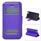 53010 Protective PU Leather + Plastic Case w/ Dual Windows for Iphone 5C - Purple