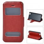 53003 Protective PU Leather + Plastic Case w/ Dual Window / Stand for Iphone 5C - Brown