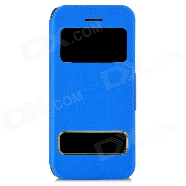 Protective Flip Open PU Leather + Plastic Case w/ Dual Windows / Stand for iPhone 5c - Blue