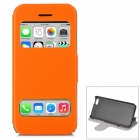 Protective Flip Open PU Leather + Plastic Case w/ Dual Windows / Stand for Iphone 5C - Orange