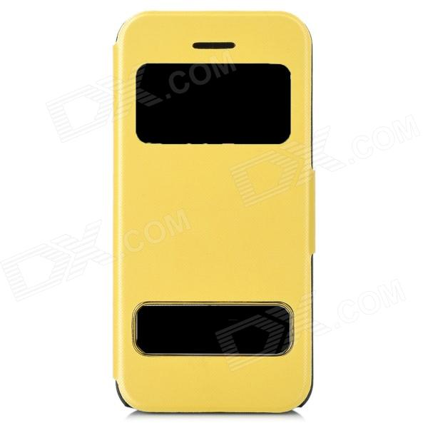 Protective Flip Open PU Leather + Plastic Case w/ Dual Windows / Stand for Iphone 5C - Light Yellow