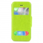 53001 Protective PU Leather + Plastic Case w/ Dual Window / Stand for Iphone 5C - Green
