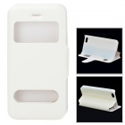 53006 Protective PU Leather + Plastic Case w/ Dual Window / Stand for Iphone 5C - White