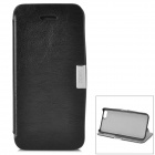Protective Flip Open Case w/ Stand / Metal Button Case for Iphone 5C - Black