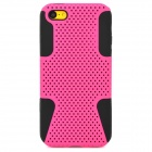 2-in-1 Protective Plastic + Silicone Back Case for Iphone 5C - Deep Pink + Black