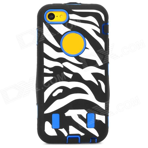 купить Zebra-Stripe Style Protective PC + Silicone Case for Iphone 5C - Blue + Black + White недорого