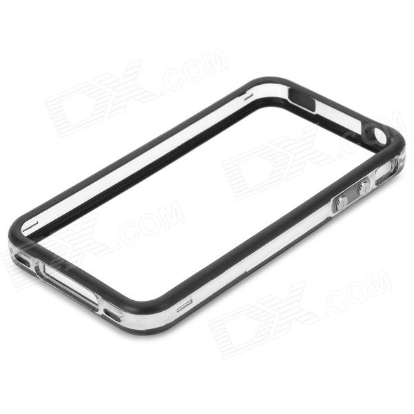 Protective TPU + Plastic Bumper Frame for Iphone 4 / 4S - Black + Transparent White stylish protective plastic tpu bumper frame case for iphone 5 blue black