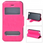 53007 Protective PU Leather + Plastic Case w/ Dual Window / Stand for Iphone 5C - Deep Pink