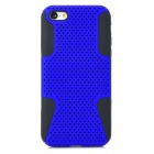 2-in-1 Protective Plastic + Silicone Back Case for Iphone 5C - Deep Blue + Black