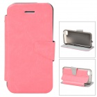 Protective PU Leather + TPU Flip Open Case w/ Stand for Iphone 5C - Pink + Translucent Black