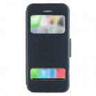 Protective Flip Open PU Leather Case w/ Dual Windows / Stand for Iphone 5C - Black