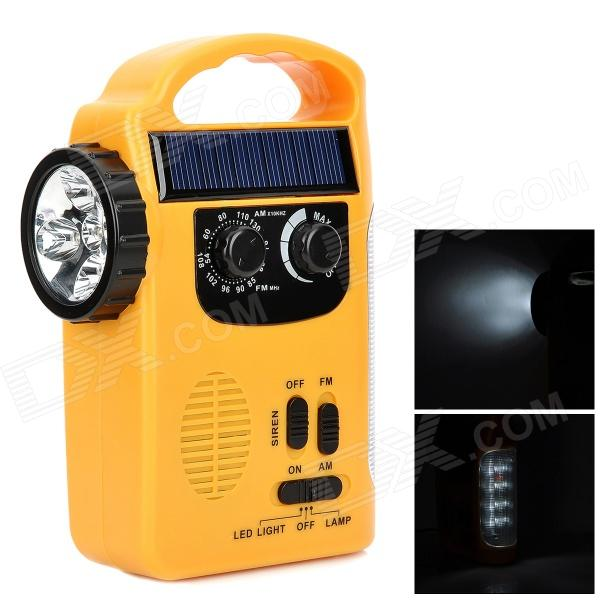TEKNIKA RD339 Solar Hand-Crank 13-LED White Flashlight + AM / FM Radio - Yellow (3 x AA)
