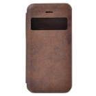 Protective PU Leather + ABS Flip Open Case w/ Display Window for Iphone 5C - Deep Coffee