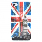Big Ben & UK National Flag Style Protective Plastic Back Case for Iphone 4 / 4S - Red + White + Blue