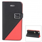 Protective PU Leather Case w/ Stand / Card Slots for Iphone 5 - Black + Red