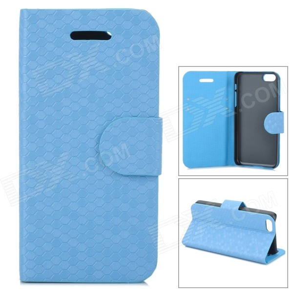 Protective Flip Open PU Leather Case w/ Stand / Card Slots for Iphone 5C - Sky Blue stylish pattern protective flip open pu leather case w stand card slots for iphone 6 4 7 white