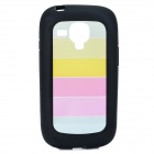 Rainbow Style Protective PC + TPU Back Case for Samsung Galaxy S3 Mini i1890 - Black