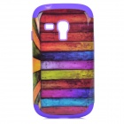 Colorful Wood Floor Style Protective Silicone Back Case for Samsung Galaxy S3 Mini i8190 - Purple