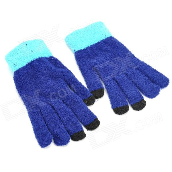 ST_01 Stylish Fleece Capacitive Screen Touching Hand Warmer Glove - Deep Blue (Pair) rabbit style cashmere style three finger capacitive screen touching hand warmer gloves beige