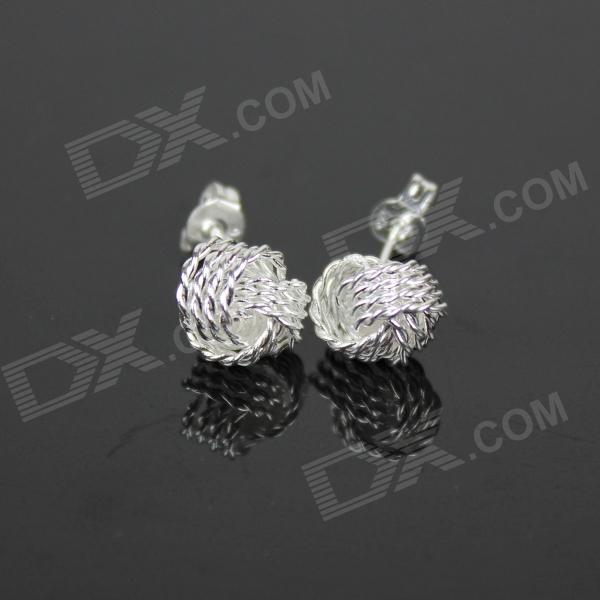 925 Fashion Net Silver Women's Earrings - Silver (Pair)
